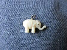 Vintage creamy celluloid miniature elephant pendant charm