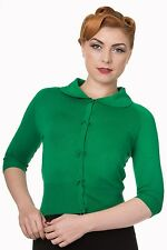 Banned Apparel 50s Rockabilly Plain Peter Pan Collar Cardigan Retro Top Green L