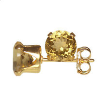 6mm ROUND FACETED GENUINE YELLOW CITRINE 14k YELLOW GOLD FILLED STUD EARRINGS