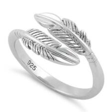 Solid 925 Sterling Silver Double Feather Ring All Sizes
