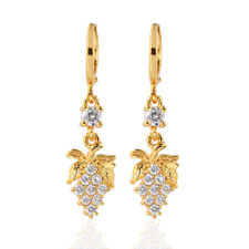 Women 18K Gold Plated Grape Shape Cubic Zirconia CZ Dangle Drop Earrings Jewelry