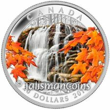 Canada 2014 Stunning Nature 3 Autumn Falls Waterfall $20 Pure Silver Color Proof