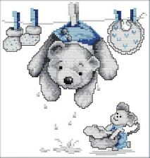 Dry Doll. Blue Bear. Baby 14CT counted cross stitch kit. Craft brand new.