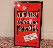 Vintage SUPERTEST GASOLINE & MOTOR OILS PORCELAIN SERVICE STATION SIGN