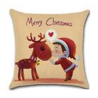 "18"" Christmas Xmas Santa Claus Reindeer Cushion Cover Throw Pillow Case Sofa Uk"