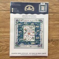 DMC 16 Count Aida Cross Stitch Kit Waterlily Clematis Flowers 30.5 x 30.5 cm