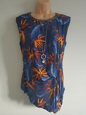 BNWT GEORGE Womens Blue & Orange Floral Print Party Bead Detail Top Size 10