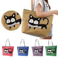 Cartoon Cat Women Zipper Pocket Canvas Messenger Bag Shoulder Bag Casual Handbag