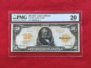 FR-1199  1913 Series $50 Fifty Dollar Gold Certificate  *PMG 20 Very Fine*