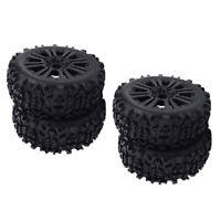 4 lot Rubber Tires Wheel Rock Climbing Black 1/8 RC Truggy Truck Accessory