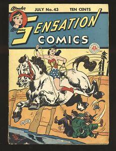 Sensation Comics # 43 - Wonder Woman, The Whip appearance G/VG Cond.