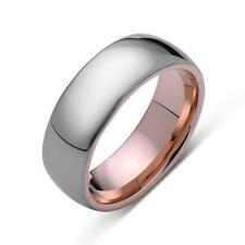 Rose Gold Tungsten Ring - Gray High Polish Ring - 8mm Band - Engagement Ring