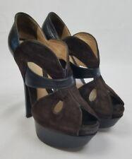 Fendi women 6.5 brown velvet platform peep toe pumps cutout detail Italy