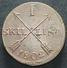 ERROR 1802 SWEDEN 1 ONE SKILLING COIN POSSIBLY STRUCK FRONT TO BACK