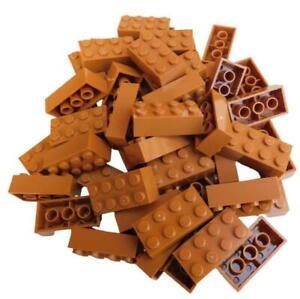 Lego 50 Stück Stein in mittel (medium) nougat Steine 2x4 Basicsteine (3001) Neu