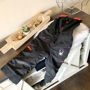 Spyder Snow Suit Ski Pants Size 3 Kids Fleece Upper Black with Red Details