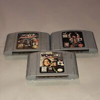 Nintendo 64 3 Game Wrestling Lot Tested WCW NWO WWF ECW War Zone Revenge N64