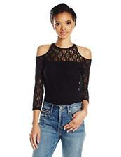 Only Hearts Women's Stretch Lace Cold Shoulder Top, Black, Size M