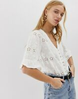 PIECES V Neck Broderie Top White SIZE M (UK 10)