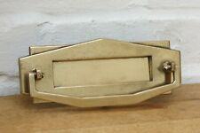 More details for art deco refurbished vintage brass letter box / door knocker (ready to fit)