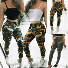 Women's Camo Cargo Trousers Elastic Casual Military Army Combat Camouflage Pants