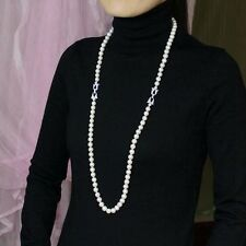 Collier Sautoir Perle Blanche Culture d`Eau Douce Argent Massive 925 Class AA 1