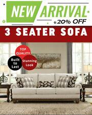 Elizabeth 3 Seater Sofa Lounge Couch Sofas Set Fabric Suite - Cream Colour