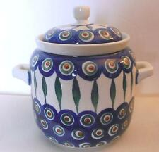"Covered Jar with Handles Hand Painted Poland 6"" Boleslawiec"