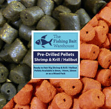 Pre-Drilled Shrimp & Krill or Halibut Pellets 100g, 8, 14 or 20mm, Carp Fishing