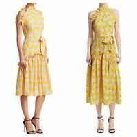 Borgo de Nor Dora Ruffled Dress Golden Yellow White Floral Tie UK 8 / US 2-4