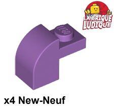 Lego - 4x Brique Brick Modified 1x2x1 x1/3 curved medium lavender 6091 NEUF