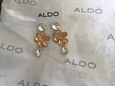 ALDO GOLD TONE  & CLEAR DANGLING EARRINGS with FLOWERS