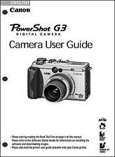 Canon Powershot G3 Digital Camera User Guide Instruction  Manual