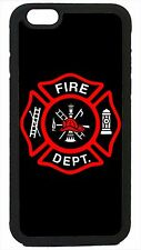 Case Cover for iPhone 4 4s 5 5s 5c 6 6 Plus Firefighter Fireman Logo Black