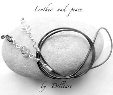 ✫LEATHER & PEACE SYMBOL✫ EYEGLASS GLASSES SPECTACLE CHAIN HOLDER  CORD