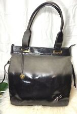 BRAHMIN BLACK PATENT SUEDE LEATHER Tote Shopper Shoulder Bag Rare Ombre Gold EUC