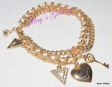 GUESS ??? Jeans Rhinestones  Logo Bangle  Bracelet  Gold Tone Charms    NWT