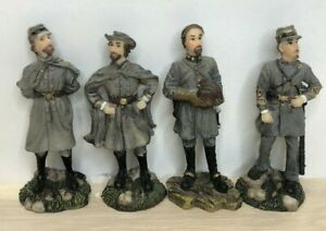 """Four Confederate Soldiers Figures Chess Pieces 3 1/4"""" Tall Board Game"""