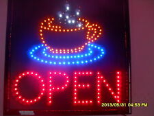 "FLASHING LED SIGN "" OPEN "" with cafe picture LARGE SIZE: 48CM X 48CM"