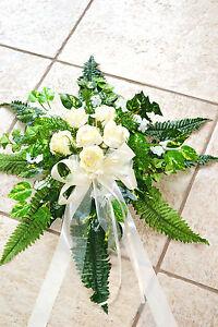 excl. Autoschmuck creme Autogesteck  Hochzeit  Blumengesteck Kunstblumen