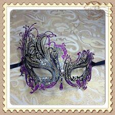 Purple Glitter Swan Black Laser Cut Metal Venetian Masquerade Mask w/Rhinestones