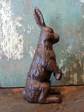 Brown Cast Iron Holiday Easter Rabbit Bunny Traditional Statue Figurine Decor