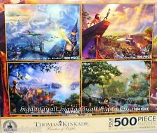 New Disney Thomas Kinkade Puzzle 500 Piece Set of 4 Puzzles Pinocchio Lion King