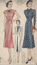1939 Vintage Sewing Pattern B34 DRESS & REDINGOTE (R892)