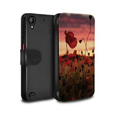 STUFF4 PU Leather Case/Cover/Wallet for HTC Desire 530/Poppies