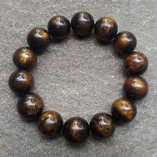 Beauty 16 MM Golden Black Coral Bracelet 14 Beads #GC3