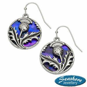 Scottish Thistle Earrings Purple Paua Abalone Silver Fashion Jewellery 25mm Drop