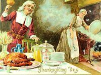 Circa 1910 Lovely Pilgrims Thanksgiving Dinner Turkey Raphael Tuck Postcard P36