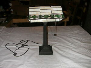 Vintage Arts & Crafts Style Heavy Metal Desk Lamp with Stained Glass Shade