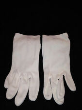 Vintage White Fabric Ladies Floral Embroidered Gloves Size 6.5